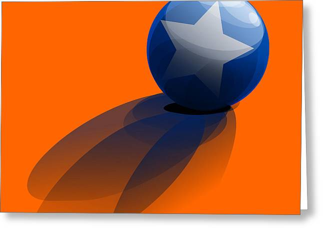 Greeting Card featuring the digital art Blue Ball Decorated With Star Orange Background by R Muirhead Art