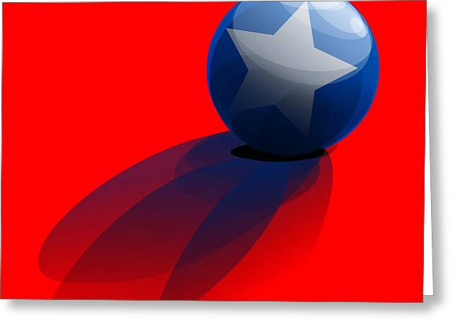 Greeting Card featuring the digital art Blue Ball Decorated With Star Red Background by R Muirhead Art