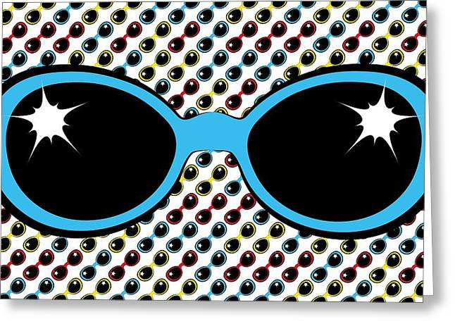 Cool Retro Blue Sunglasses Greeting Card