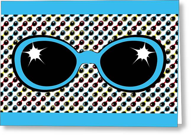 Cool Retro Blue Sunglasses Greeting Card