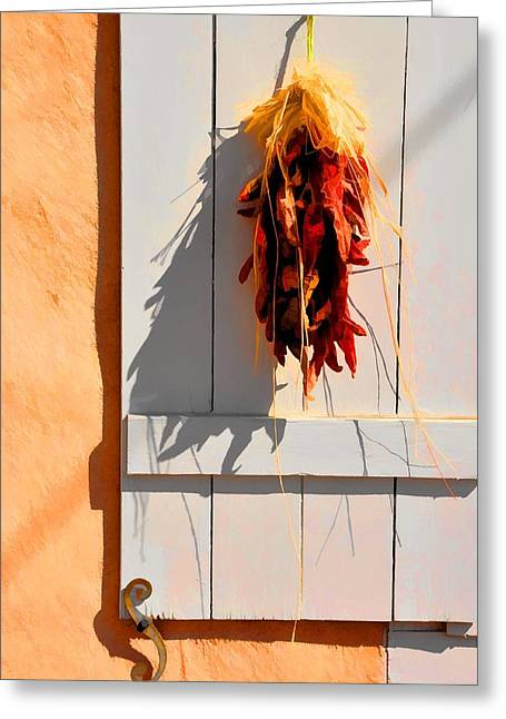 Cool Shadows Hot Chilies Greeting Card by Jan Amiss Photography