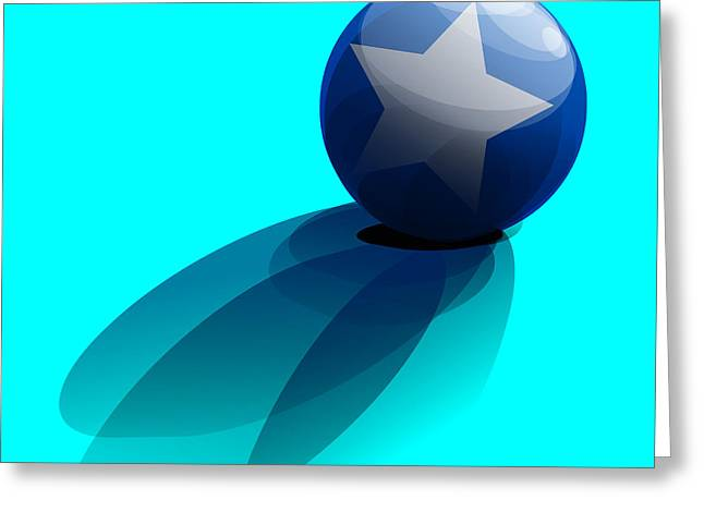 Blue Ball Decorated With Star Turquoise Background Greeting Card