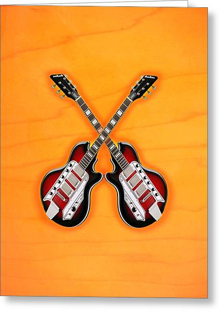 Cool Vintage Guitar Greeting Card by Doron Mafdoos