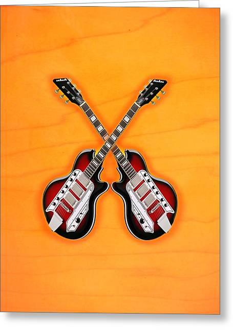Cool Vintage Guitar Greeting Card by Doron Mafdoos