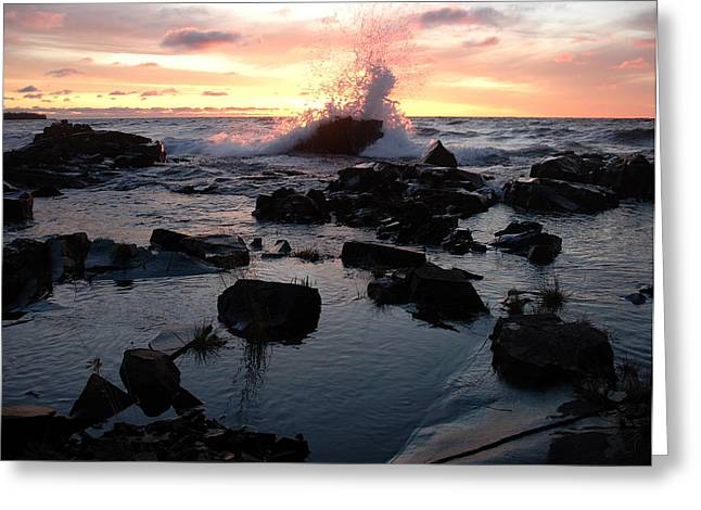 Cool Wave At Sunup Greeting Card by Sandra Updyke