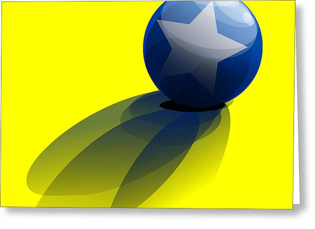 Blue Ball Decorated With Star Yellow Background Greeting Card
