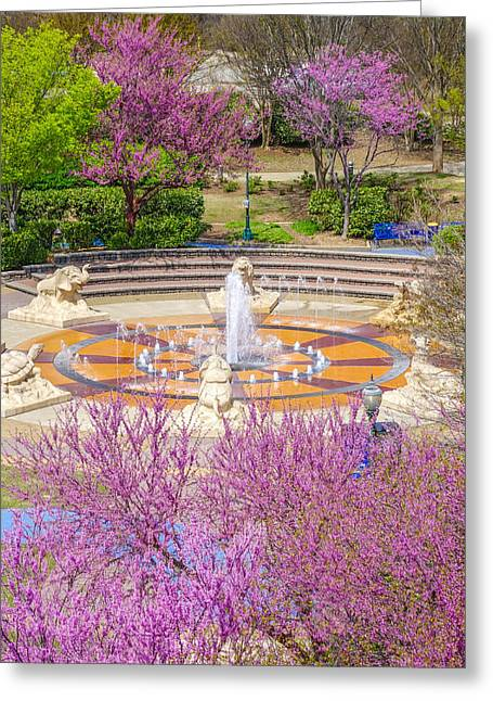 Coolidge Park Fountain In Spring Greeting Card