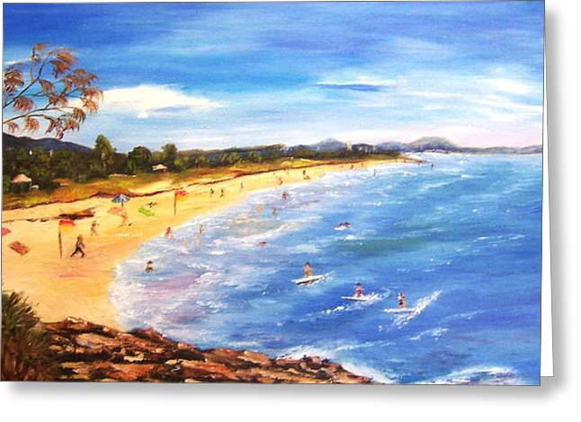 Greeting Card featuring the painting Coolum Beach by Renate Voigt