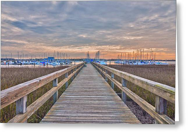 Cooper River Marina Greeting Card by Donnie Smith