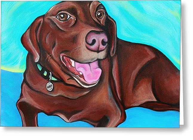 Cooper The Chocolate Lab Greeting Card by Lauren Hammack
