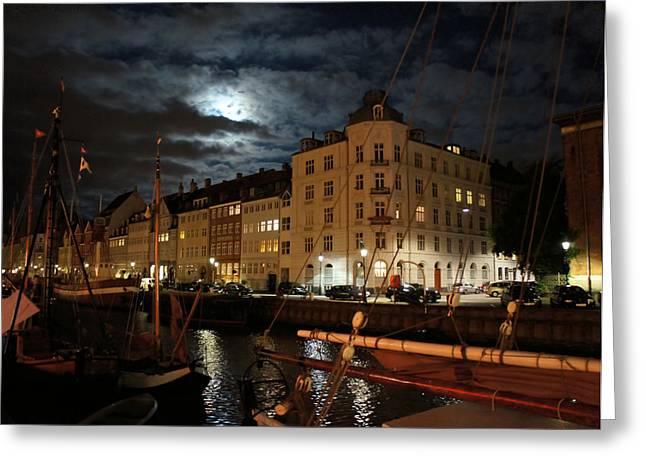 Copenhagen At Night Greeting Card