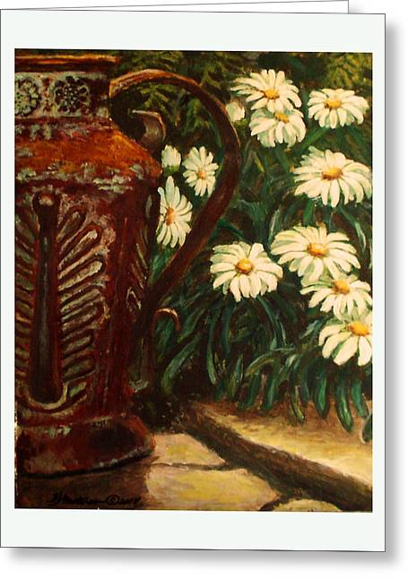 Copper And Daisies Greeting Card by Harriett Masterson