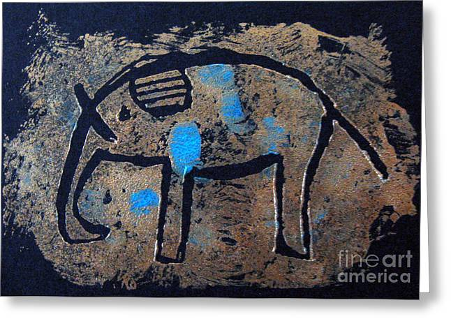 Copper Elephant With Cobalt Greeting Card