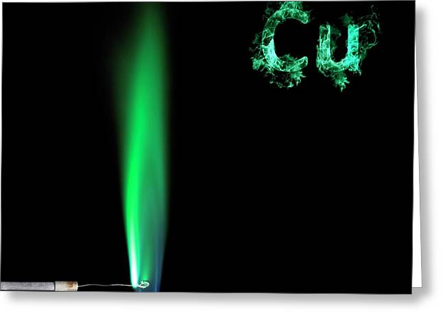 Copper Flame Test Greeting Card by Science Photo Library
