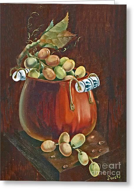 Copper Kettle Of Grapes Greeting Card by Doreta Y Boyd