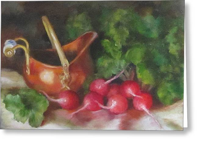 Copper Pot And Radishes Still Life Painting Greeting Card