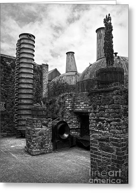 Copper Pot Stills And Column Still At Lockes Distillery Bw Greeting Card