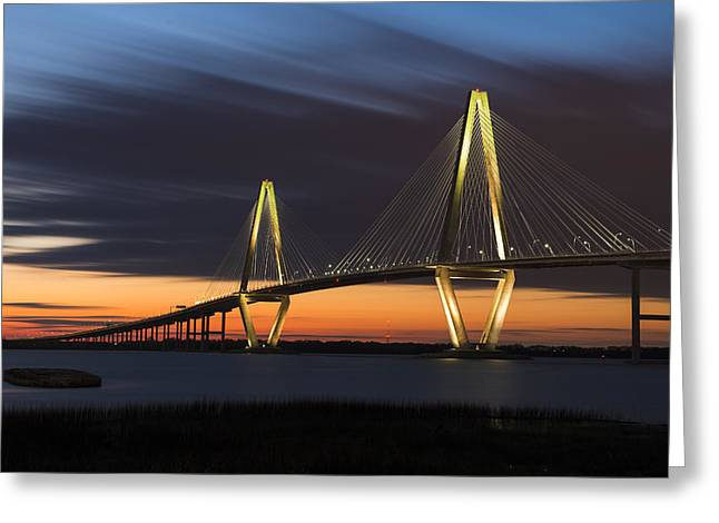 Copper River Bridge At Dusk Greeting Card by Joseph Rossbach