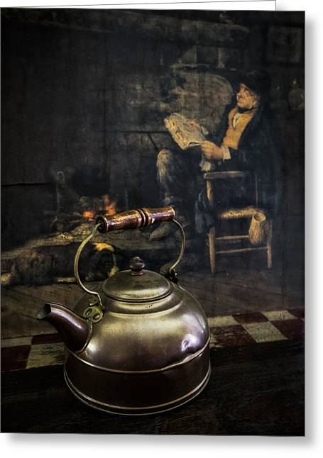 Copper Teapot Greeting Card by Debra and Dave Vanderlaan