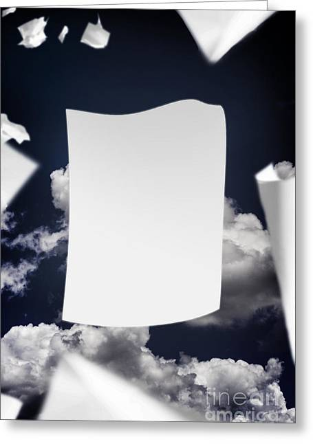 Copyspace Paper Document Flying In The Wind Greeting Card