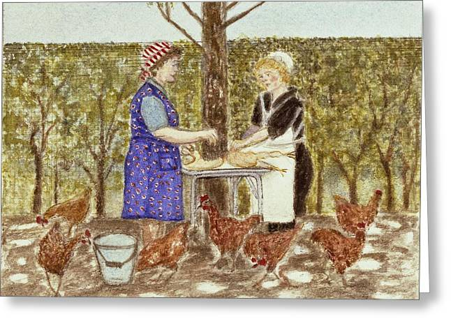 Coq Au Vin, 1989 Watercolour On Paper Greeting Card by Gillian Lawson