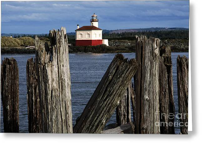 Coquille River Lighthouse Oregon 1 Greeting Card by Bob Christopher