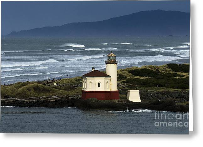 Coquille River Lighthouse Oregon 2 Greeting Card by Bob Christopher