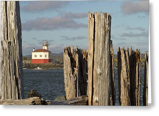 Coquille River Lighthouse, Bandon Greeting Card by William Sutton