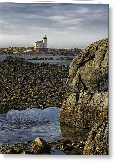 Coquille River Lighthouse Greeting Card by Jeanne Hoadley