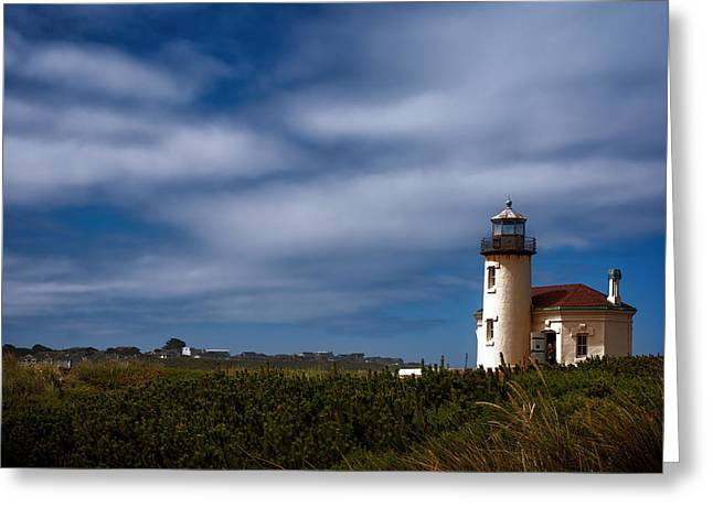 Coquille River Lighthouse Greeting Card by Joan Carroll