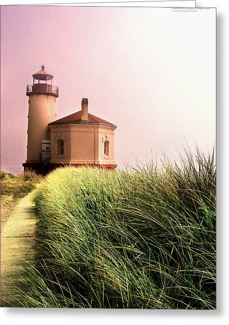 Coquille River Lighthouse Oregon Greeting Card by Rafael Escalios