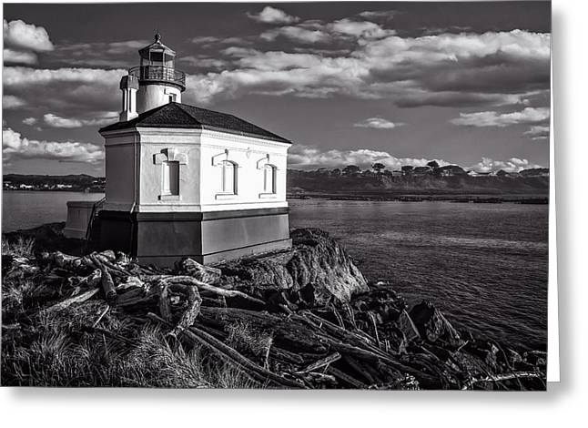 Coquille River Lighthouse Upriver Bw Greeting Card by Joe Hudspeth