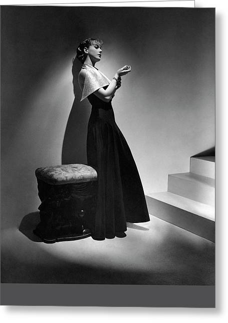 Cora Hemmet Wearing A Gown With Lame Revers Greeting Card by Horst P. Horst
