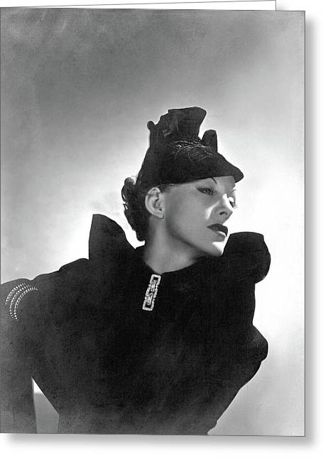 Cora Hemmet Wearing Reboux And Boucheron Greeting Card by Horst P. Horst