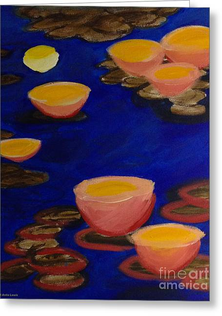 Greeting Card featuring the painting Coral Lily Pond by Anita Lewis