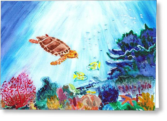 Greeting Card featuring the painting Coral Reef by Donna Walsh