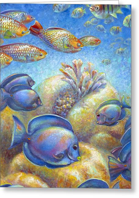 Greeting Card featuring the painting Coral Reef Life II by Nancy Tilles