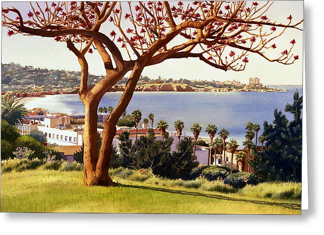 Coral Tree With La Jolla Shores Greeting Card by Mary Helmreich