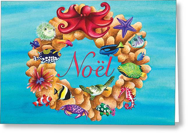 Coral Wreath Noel Greeting Card by Carolyn Steele