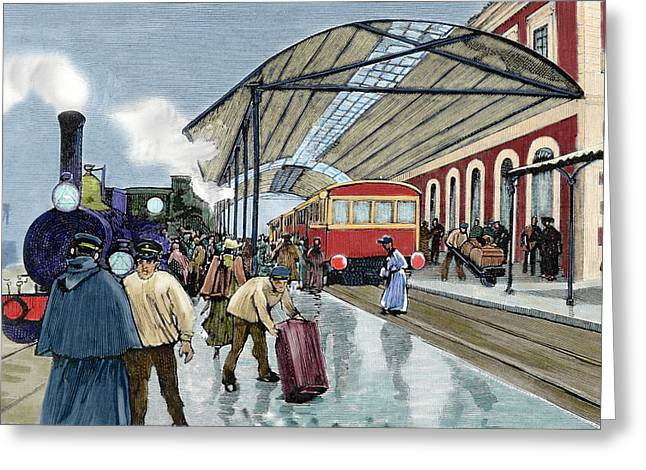 Cordoba Station Arrival Of A Passenger Greeting Card by Prisma Archivo