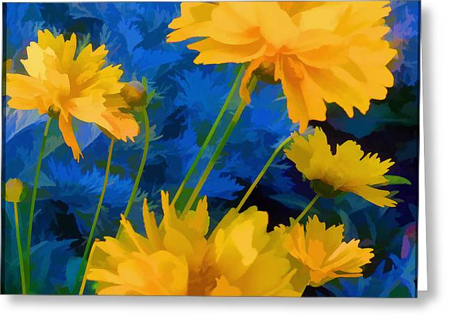 Coreopsis - Yellow And Blue Greeting Card