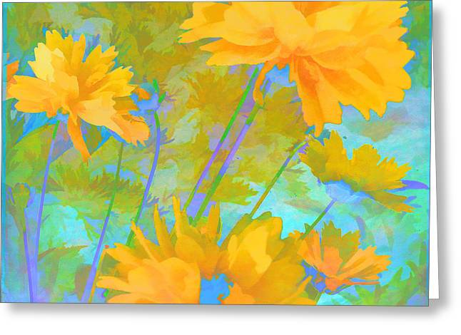 Coreopsis - Yellow And Green Greeting Card