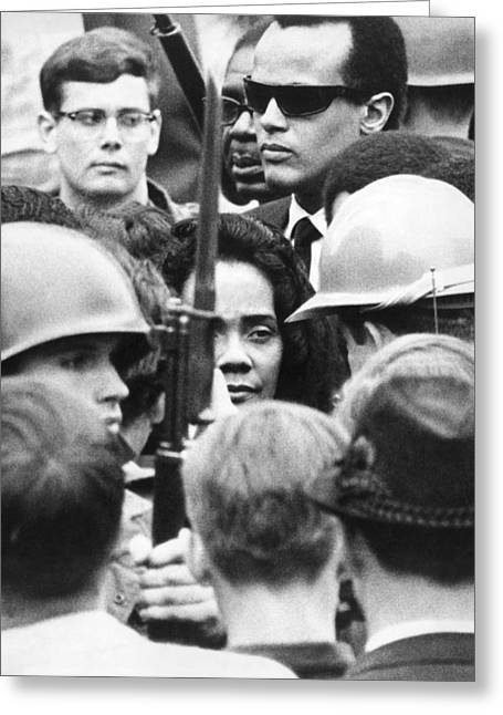 Coretta King & Harry Belafonte Greeting Card by Underwood Archives