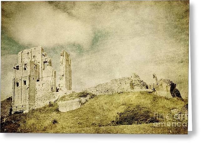Corfe Castle - Dorset - England - Vintage Effect Greeting Card by Natalie Kinnear