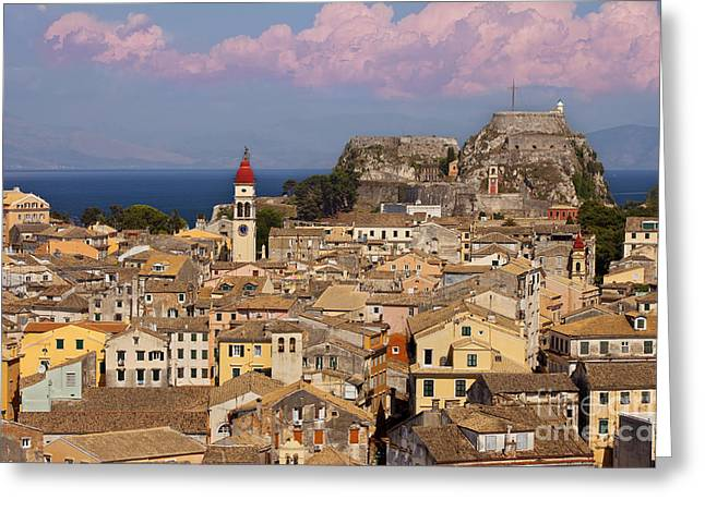 Corfu Town Greeting Card by Brian Jannsen