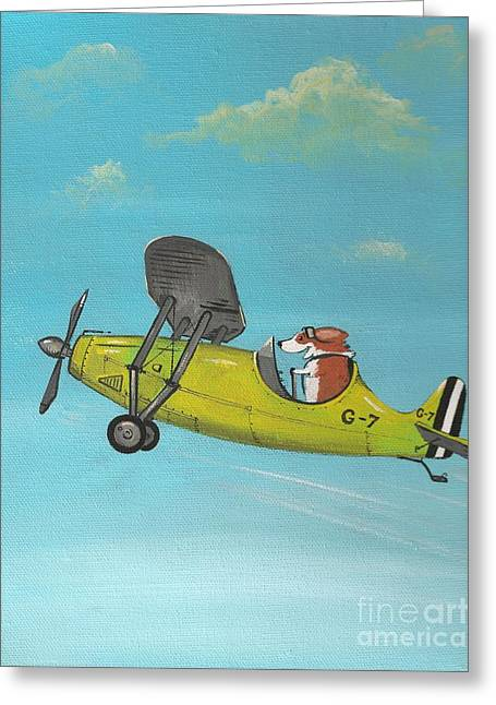 Corgi Aviator Greeting Card by Margaryta Yermolayeva