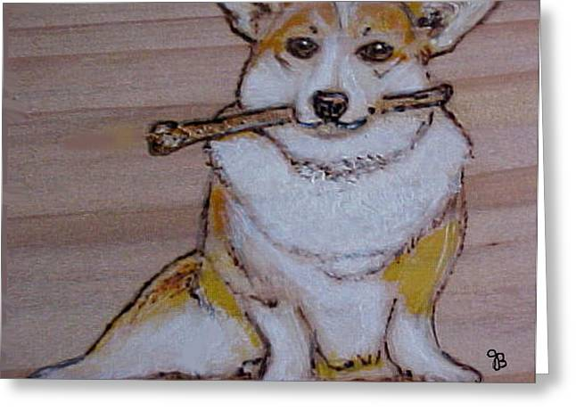 Corgi With Bone Greeting Card by Jeanie Beline