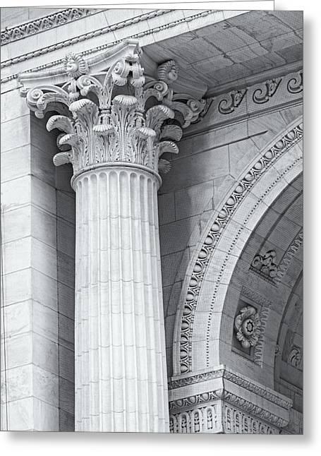 Corinthian Column Detail Bw Greeting Card by Susan Candelario