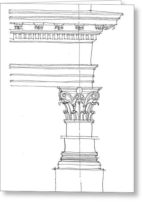 Corinthian Order Greeting Card by Calvin Durham