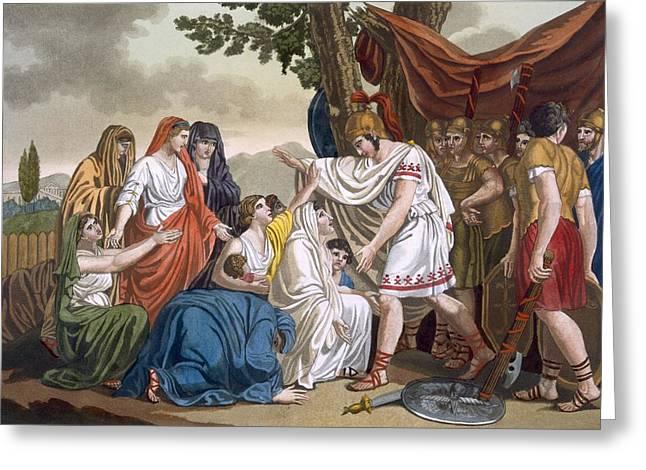Coriolanus And His Mother Volumnia Greeting Card by Jacques Grasset de Saint-Sauveur